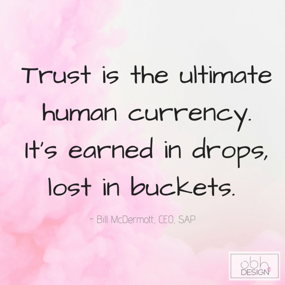 """Trust is the ultimate human currency. It's earned in drops, lost in buckets."" (1)"