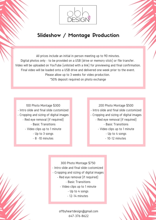 montage pricing off by heart design 2019